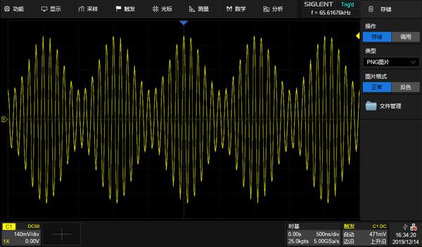 示波器测得的AM调制信号